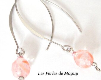 Demi-creoles earrings with pink beads
