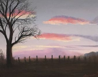 Pastel art on pastel paper sunset over Achnacloich landscape painting tree silhouette
