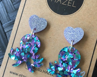Octopus and Lavender Heart Earrings!!!