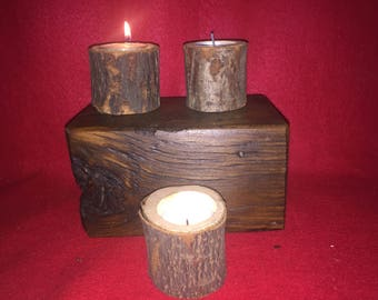 Natural tea light holders, set of 3..