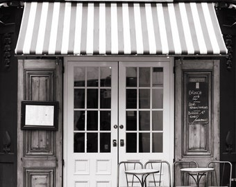 Paris Cafe Photograph, Malabar Cafe, Black and White Photo, Large Wall Art, French Kitchen Decor, Blue Door, Travel Photograph