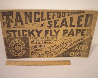 Antique Cardboard Sign/boxtop Tanglefoot Fly Paper