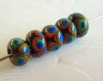 Lampwork Beads-Earthy Rainbow Colors-Set of 5