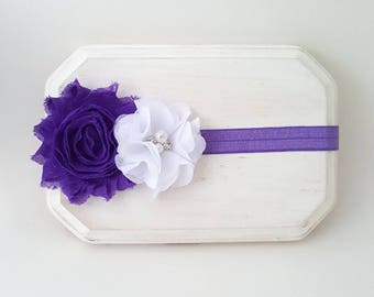 Purple and White Baby Headband - Purple Headband - Purple Baby Headband - Newborn Headband - Girl's Headband - Baby Girl Headband