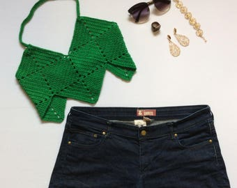 Emerald Green Crochet Crop Top / Backless Crop Top / Green Summer Top