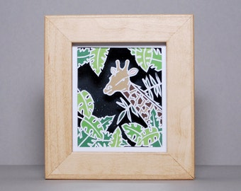 Layered Papercut - Framed Papercut - New Baby Gift - Nursery Papercut - Giraffe - Jungle - 'Geoffery' - READY TO SHIP