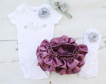 Ultraviolet & Silver Baby Girl Outfit. Newborn Coming Home Outfit, Personalized Bodysuit, Bloomers,Leg Warmers, 1st Birthday Valentine's Day