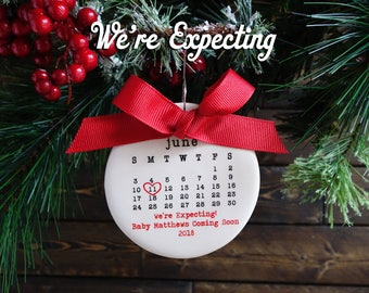 WE'RE EXPECTING ornament, baby ornament, personalized christmas ornament, baby coming soon, typewriter, baby gift