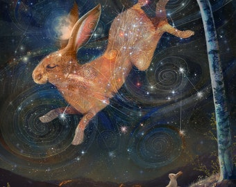 Brother in the Sky | 8x10 Print | rabbit moon rabbit art hare painting hare moon, hare in the sky, rabbit in the sky | by Meluseena
