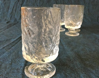 Vintage Clear Crinkle glass Footed Tumblers, Set of 4, Tree Bark Glasses
