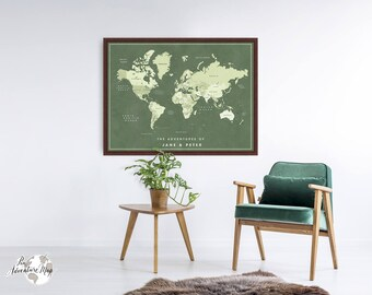 World map wall art / World map print / Pin world map / Family travel map / Anniversary gift for husband