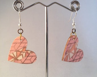 Dangling heart pink patterned washi covered earrings