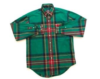 Vintage Gap Green Plaid Flannel