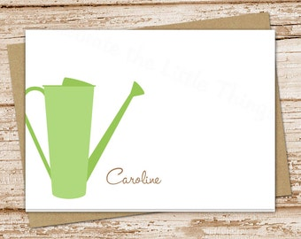 watering can personalized stationery . note cards . sprinkling can notecards . stationary . gardener gift . set of 8