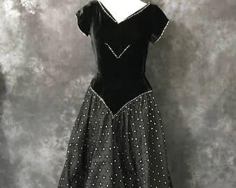 Vintage 1950's black velvet flocked taffeta party dress silver