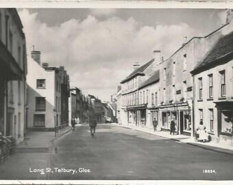 Vintage 1910s Postcard Tetbury England United Kingdom UK Long Street Town Scenic View Black and White RPPC Real Photograph Postally Unused