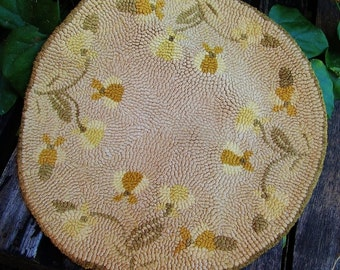 Vintage French Knotted Doily/ Hot Pad with Wild Iris Motif