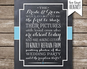 Wedding Printable - No Pictures- No Social Media - Custom Color - Wedding Decor