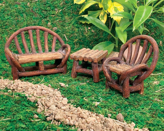 Fairy Garden Grapevine Bench, Table, And Chairs ~ Miniature Woodland Garden  Patio Set For Fairies ~ Fairy Terrarium Furniture Accessories From ...