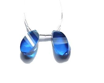 2 Pieces Beautiful Tanzenite Blue Quartz Faceted Twisted Drops Size 20X10 MM