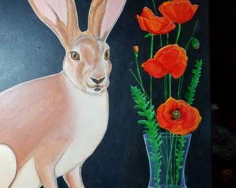 Jack Rabbit with Poppies