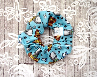 Totoro Scrunchie - Blue Anime Scrunchy / My Neighbor Totoro Fabric / Ghibli Hair Tie / Anime Large Cotton Srunchie / Geek Girl Gift