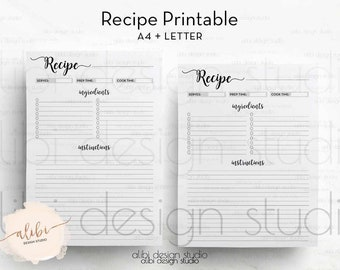 Recipe Planner, Recipe Book, A4 Printable, Recipe Journal, Recipe Binder, Recipe Card, A4 Recipe, A4 Binder, Recipes, Printable Recipe