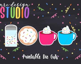 SALE Planner Die Cuts Printable, Coffee Die Cuts, Cute Food Die Cuts, Sprinkles, Scrapbook Die Cuts, Planner Accessories - Office Supplies