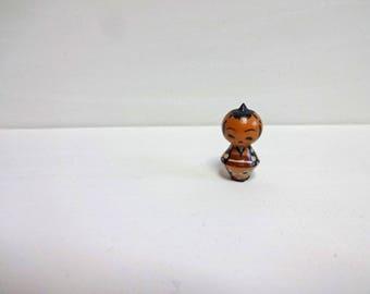 1in Vintage Japanese Miniature Wood KOKESHI Doll