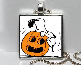 Vintage Snoopy Peanuts Halloween Pumpkin Jack O Lantern Granddaughter Gift Altered Art Charm Necklace