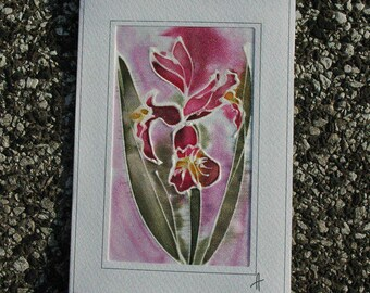 Painted Red Orchid/Silk Card/Orchid Mother's Day Card/Orchid Birthday Card/Orchid Flower Greeting Card/Card for Mom/Orchid Anniversary Card.