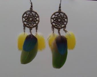 Dream catcher earrings with Parrot feathers