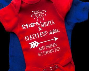 Forth of July Pregnancy Announcement ONESIE® 4th of July Baby Announcement, New Baby, Pregnancy Photo, Baby Girl  Boy Bodysuit clothing