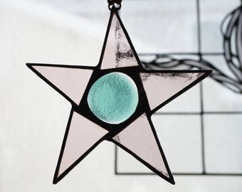 Stained Glass Star Suncatcher, Fused Glass Suncatcher, Pink Star, Pink Fused Glass Star, Rustic Decor, Stained Glass Art, Pale Pink Star