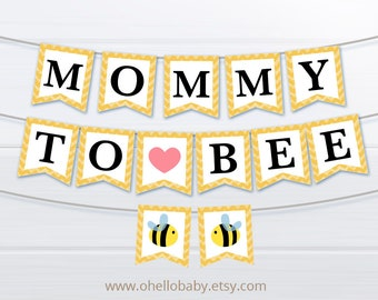 Mommy To Bee Bunting Flags - Baby Shower Decoration Party Flags - Pennant Flags - Mommy To Be Yellow Bumble Bee Baby Shower - 007