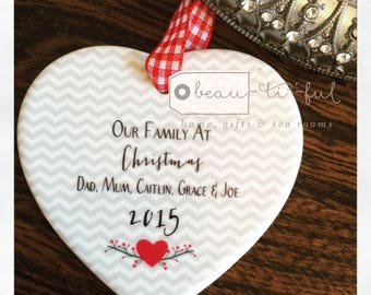 Personalised Our Family at Christmas Ceramic Heart with Heart and Chevron Detail - Christmas Gift - Tree Decoration - Keepsake