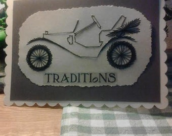 Hand Stitched Greeting Card, Vintage Car