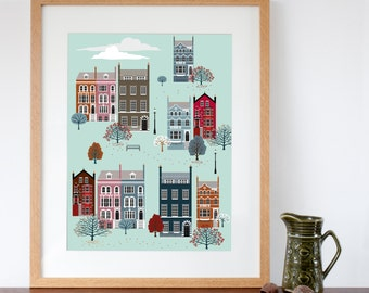 London Row Houses in Fall / Autumn Art Print