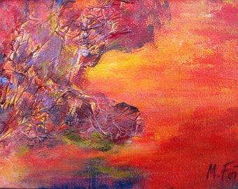Twilight - point of view #8, original art, landscape, acrylic, semi-abstrait, 6 3/8 x 11 1/8 in. (16 x 28.5 cm), landscape, acrylic.