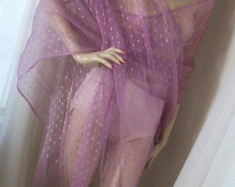 1920s Antique Art Deco Sheer Lavendar Organza Shawl with Gold Metallic Huge Fringed Theda Bara