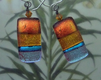 Copper Ribbons Dichroic Earrings, Handmade Fused Glass Jewelry from North Carolina