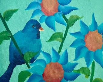 Indigo Bunting Bird in Sunflower Garden on Deep Edge Canvas