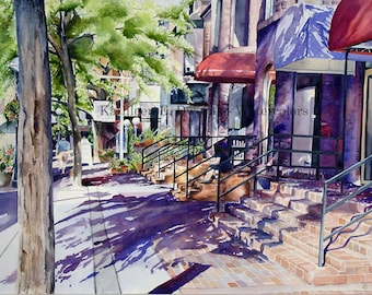 Sunny City Morning- signed limited edition watercolor print
