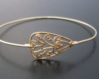 Brass Bangle Bracelet, Saskia - Brass Gold Jewlery, Brass Bracelet, Brass Jewelry, Stacking Bangle Bracelet, Brass Filigree Jewelry