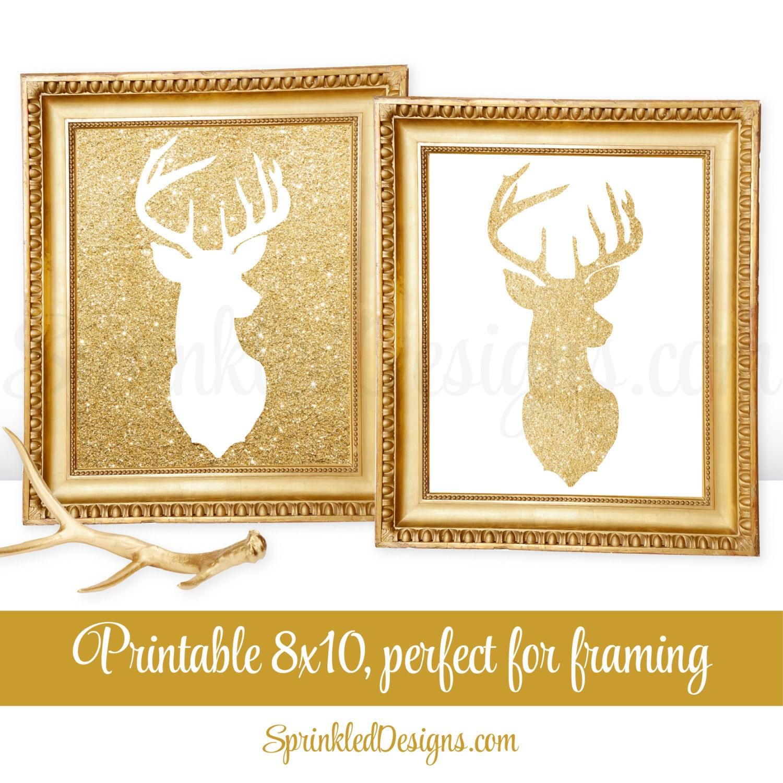Printable Winter Decor Gold Deer Head Wall Art Deer Antlers