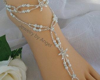 Starfish Foot Jewelry Wedding Starfish Barefoot Sandal & Anklet Set