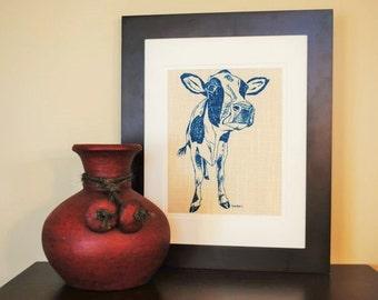 Kitchen Wall Art - Similar to Burlap - Screen Printed Linen - Teal Cow Wall Hanging - Farm Animal Wall Decor