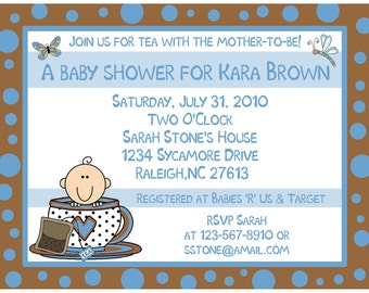 20 Personalized Baby Shower Invitations LITTLE TEA CUP  - Blue