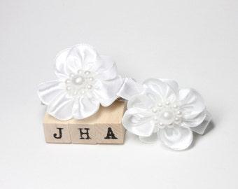 Flower girl/ Wedding/Christening hair clips - white satin flowers