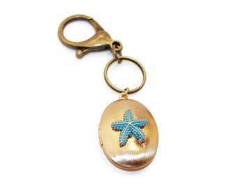 Zipper Pull, Stash Box, Bag Accent, Locket Keyring, Starfish Locket, Ash Locket